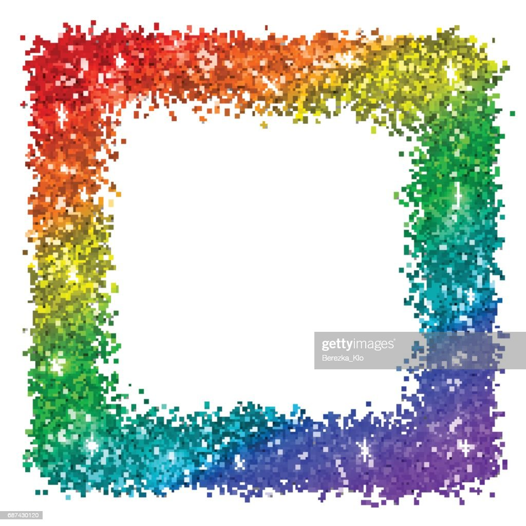 Multicolor glitter square frame, rainbow colors, isolated on white background