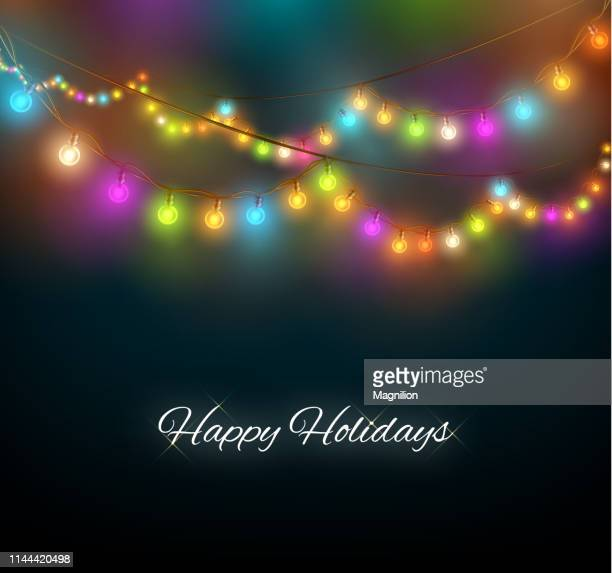 multicolor holiday garland - christmas lights stock illustrations