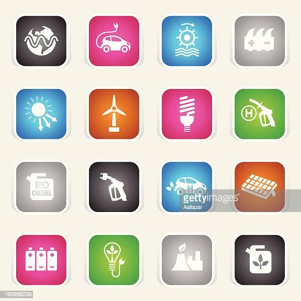 multicolor icons - alternative energy - biodiesel stock illustrations, clip art, cartoons, & icons