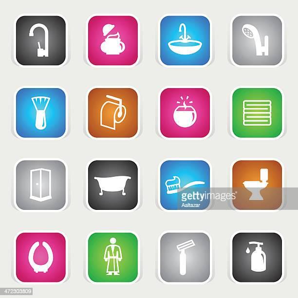 illustrations, cliparts, dessins animés et icônes de multicolore icônes-salle de bains - cuvette des toilettes