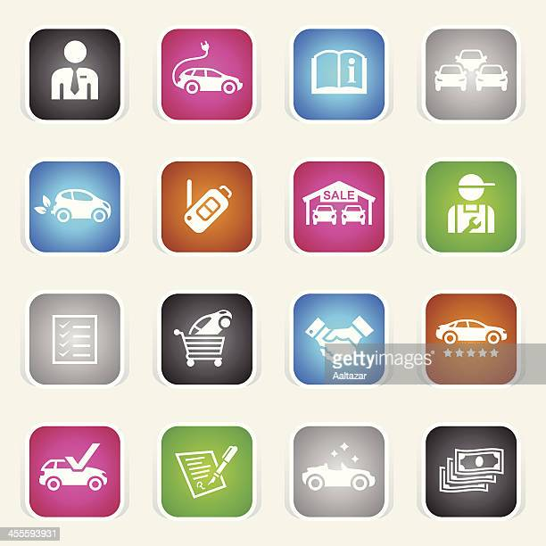 multicolor icons - car dealership - car salesperson stock illustrations, clip art, cartoons, & icons
