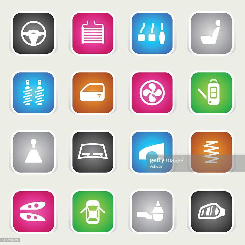 Multicolor Icons - Car Parts : stock illustration