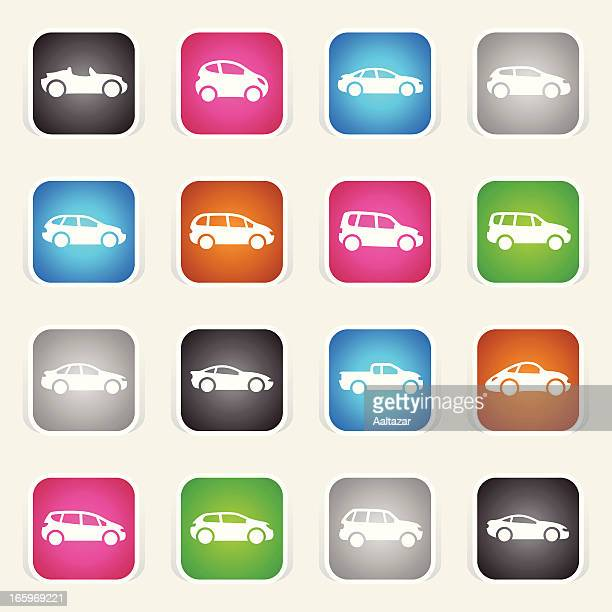 multicolor icons - cartoon cars - sedan stock illustrations, clip art, cartoons, & icons