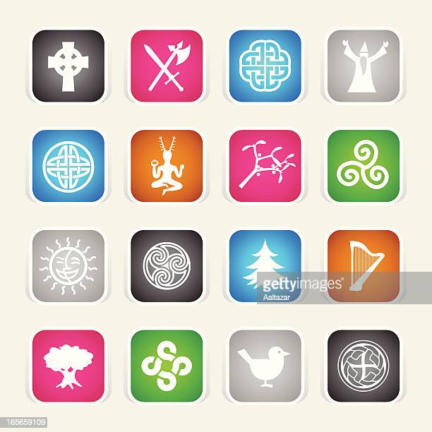 multicolor icons - celtic - celtic music stock illustrations, clip art, cartoons, & icons
