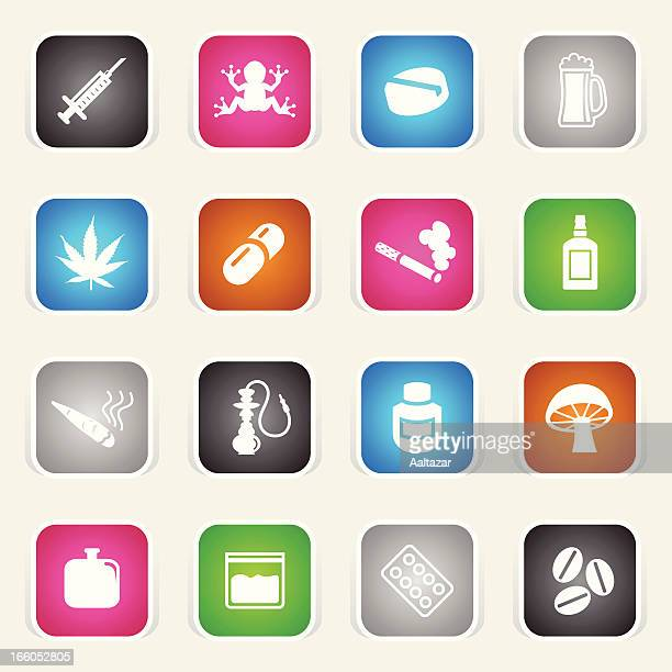 multicolor icons - drugs - crack pipe stock illustrations