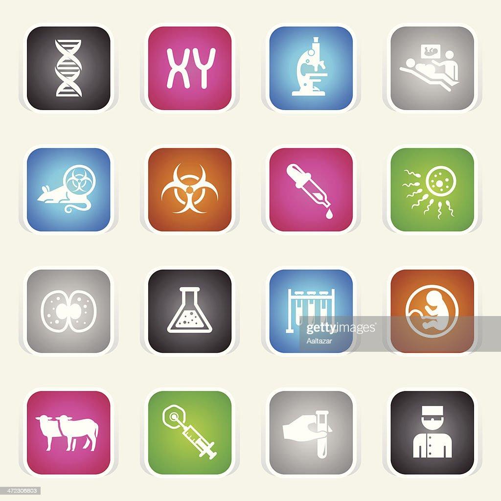 Multicolor Icons - Genetics & Cloning : stock illustration