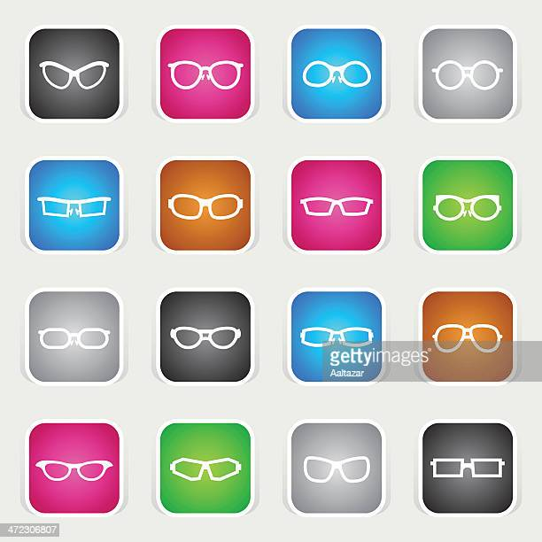 multicolor icons - glasses - horn rimmed glasses stock illustrations, clip art, cartoons, & icons