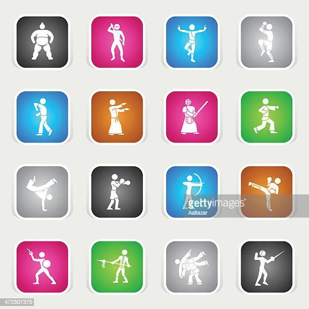 ilustrações de stock, clip art, desenhos animados e ícones de multicor ícones-artes marciais - capoeira