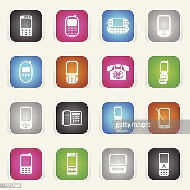 Multicolor Icons - Mobile & Land Phones