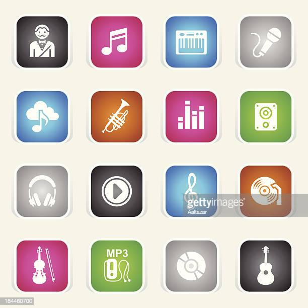 multicolor icons - music - soundtrack stock illustrations, clip art, cartoons, & icons