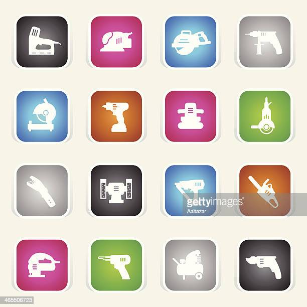 multicolor icons - power tools - pruning shears stock illustrations, clip art, cartoons, & icons