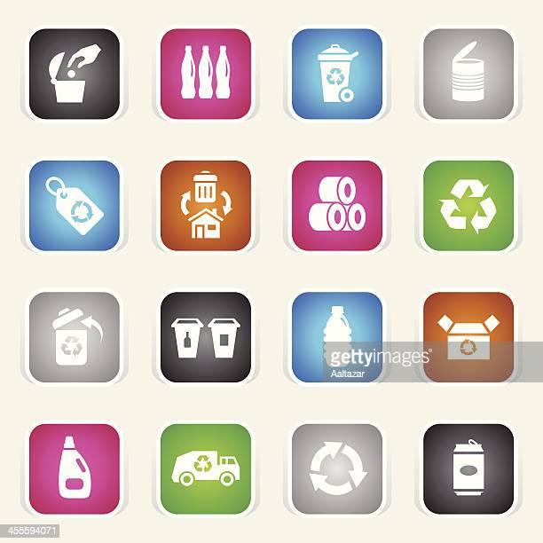 ilustraciones, imágenes clip art, dibujos animados e iconos de stock de multicolor iconos-reciclado - tirar basura