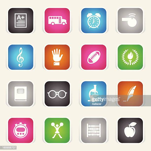 multicolor icons - school - sport torch stock illustrations, clip art, cartoons, & icons