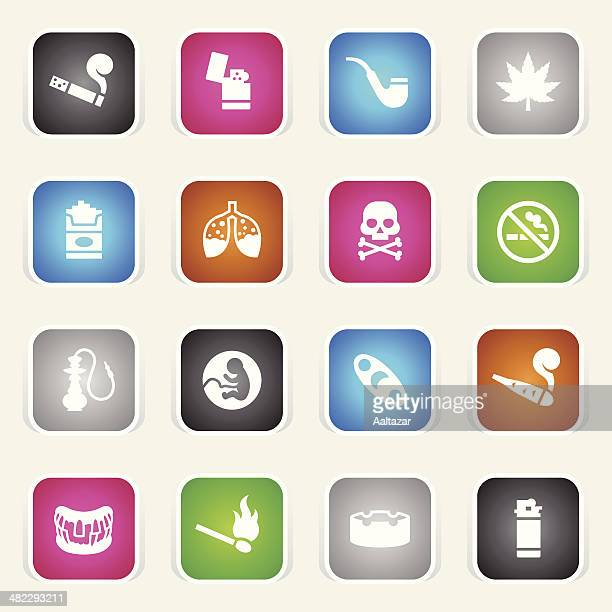 multicolor icons - smoking - crack pipe stock illustrations
