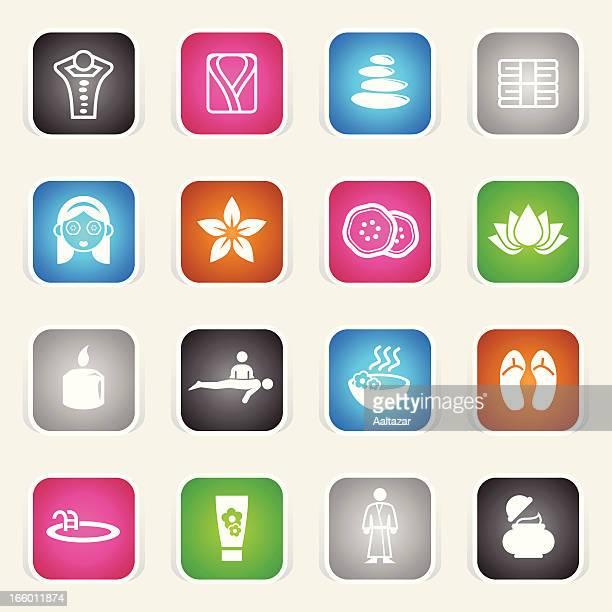 illustrations, cliparts, dessins animés et icônes de multicolore icônes & de bien-être – spa - masseur