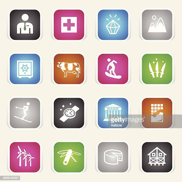 multicolor icons - switzerland - milk chocolate stock illustrations, clip art, cartoons, & icons