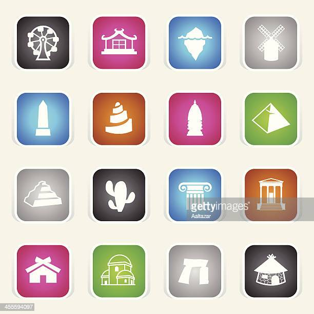 multicolor icons - travel - megalith stock illustrations, clip art, cartoons, & icons