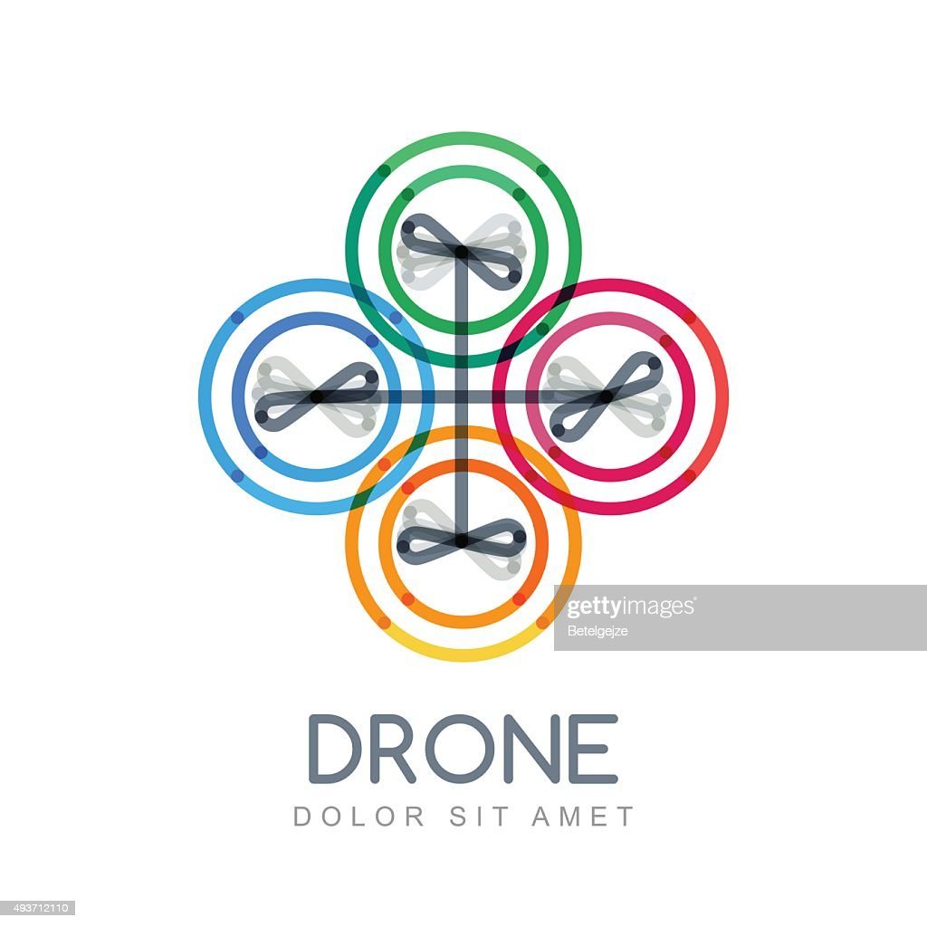Multicolor linear illustration of flying drone.