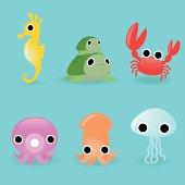 Multicolor Marine Life Cartoon