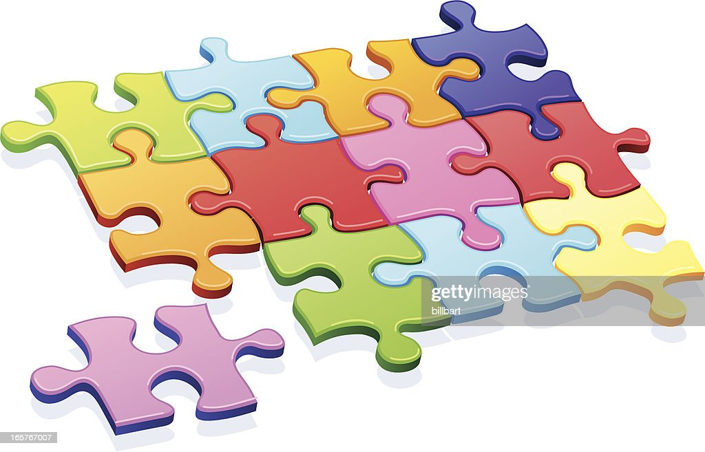 Multicolor Puzzle Missing Piece Vector Art