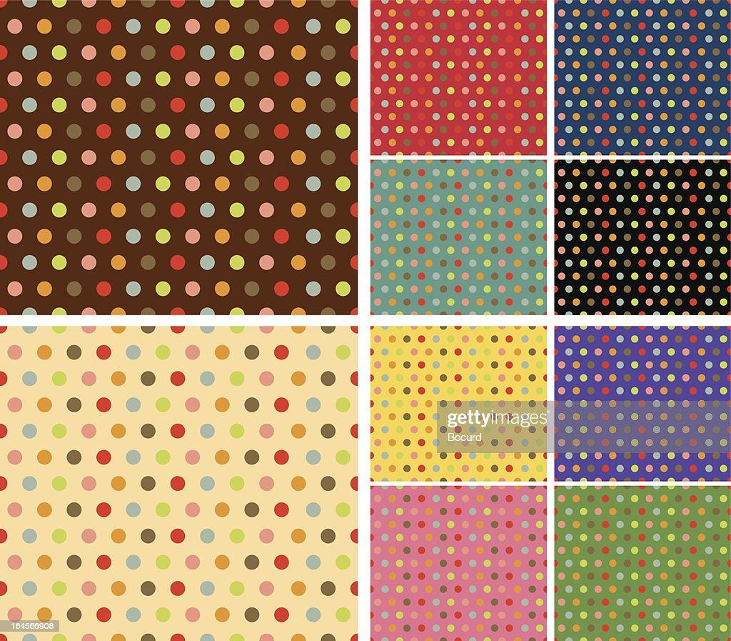 Multicolor retro pattern set
