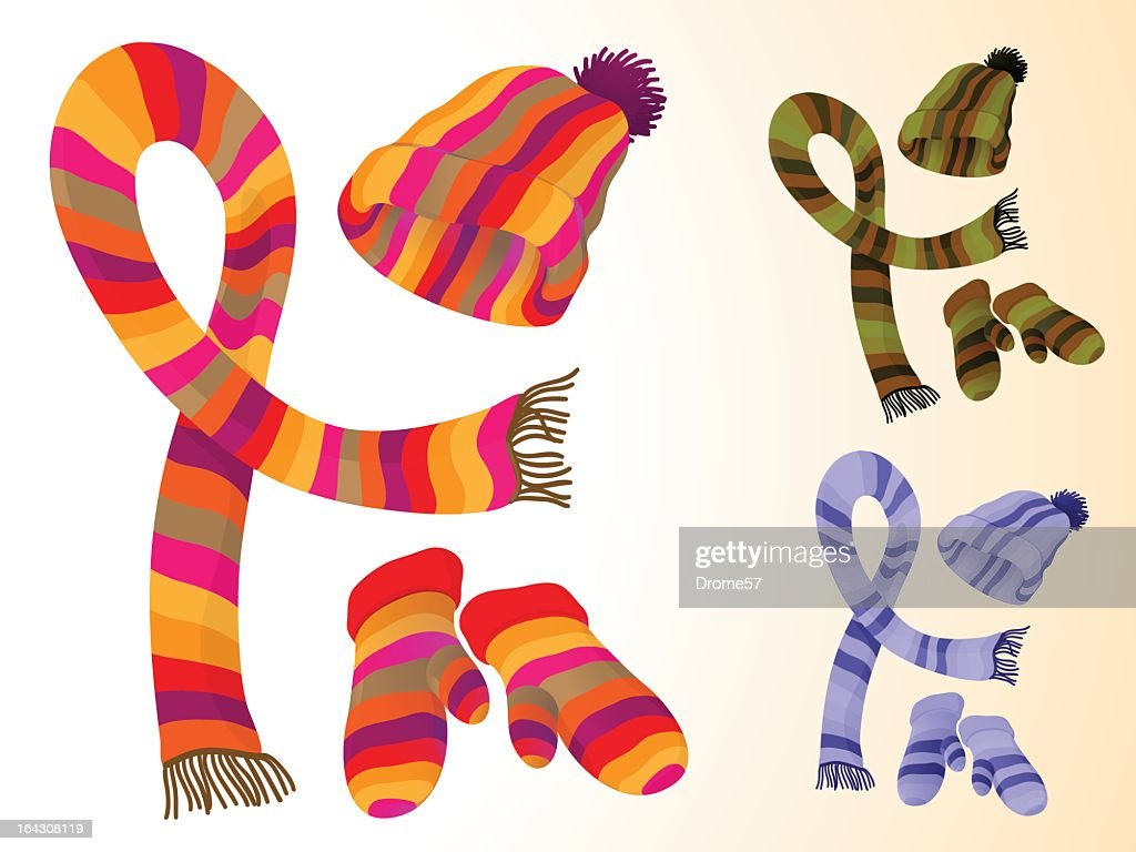 Multicolor scarves, hats and mitts
