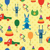 Multicolor seamless pattern with toys.