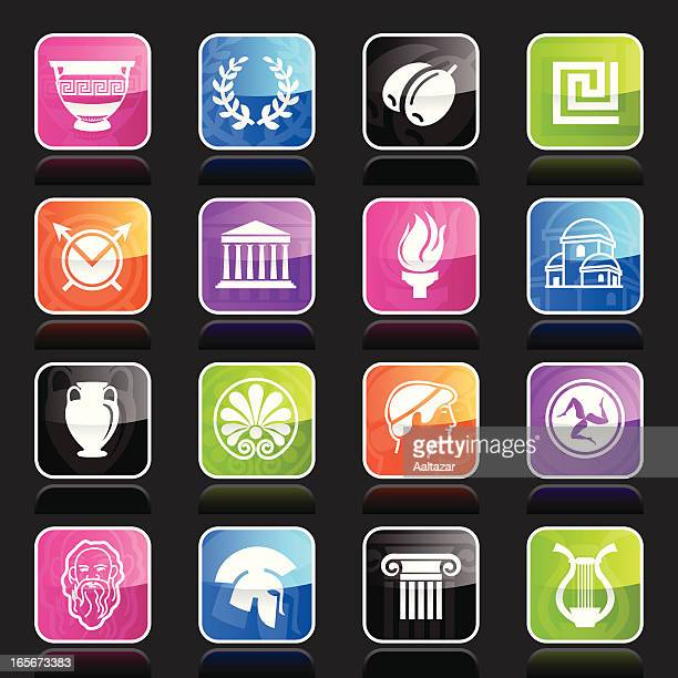 multicolor ubergloss icons -  greece - history stock illustrations, clip art, cartoons, & icons