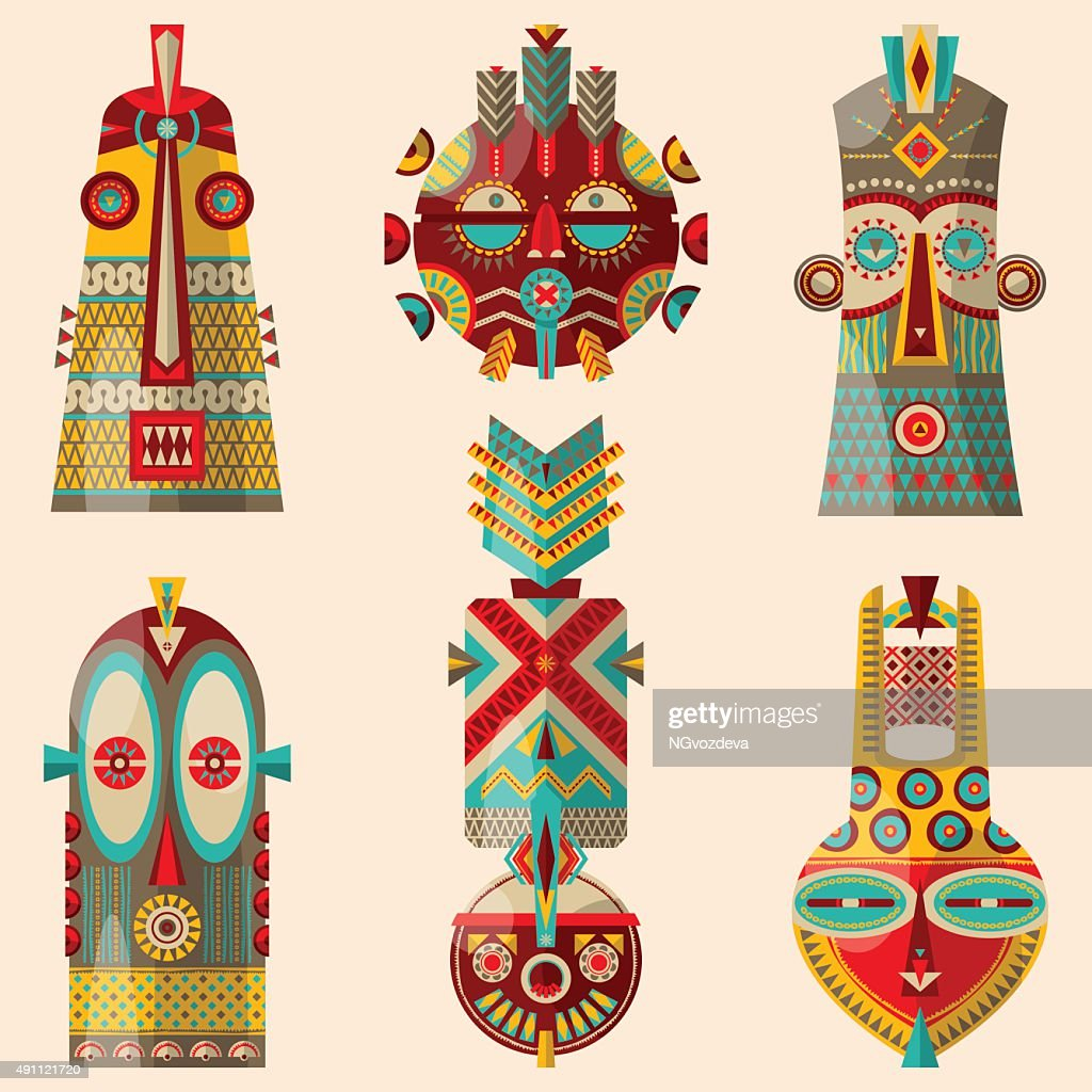Multi-colored african masks of different shapes.