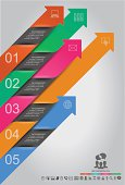 Multicolored and numbered abstract infographics design