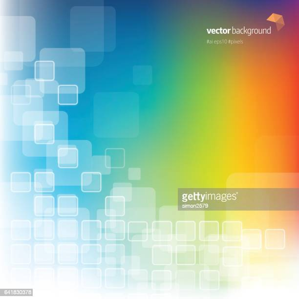 Multi-colored background with fading white square pattern