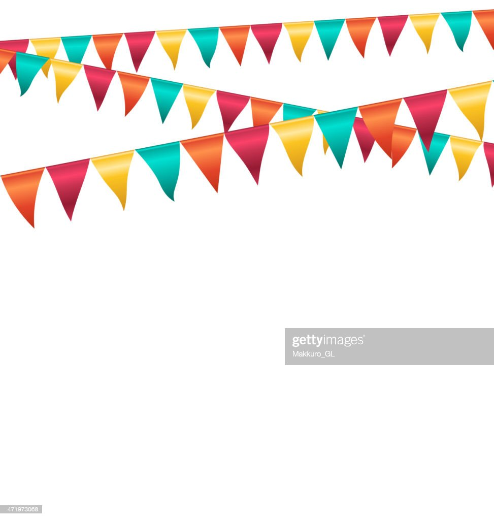 Multicolored bright buntings garlands isolated on white