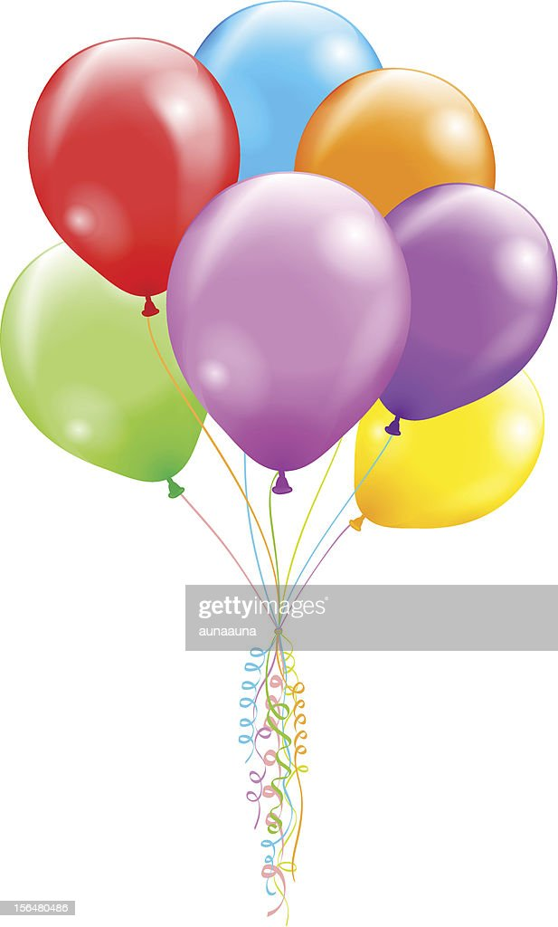 Multi-colored bunch of balloons tied with curled ribbon