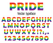 Multicolored celebrate pride typeface. ABC colorful letters and numbers isolated on white. Vector illustration.