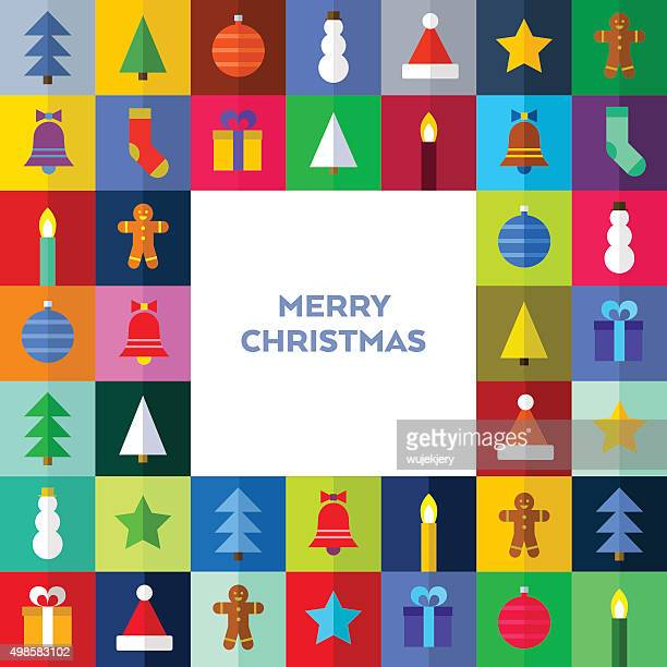 multicolored christmas card - flat vector illustration - christmas decore candle stock illustrations