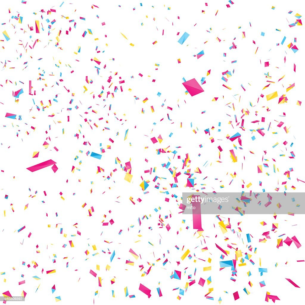 Multicolored confetti against a white background