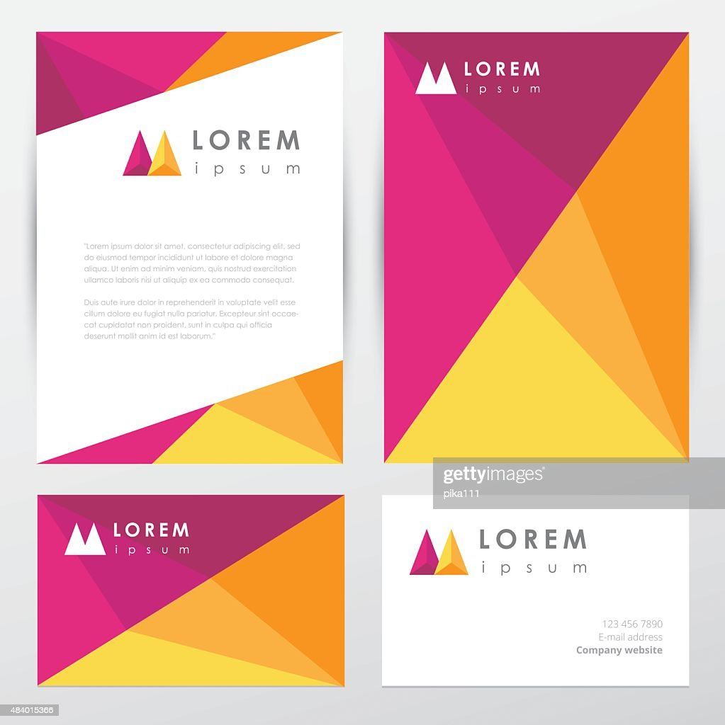 Multicolored corporate identity stationery set in low polygon style