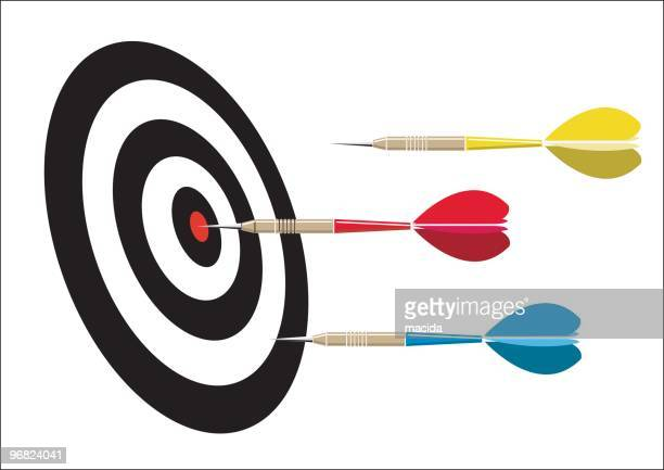 multicolored darts and dart board with one bull's-eye - dart stock illustrations, clip art, cartoons, & icons