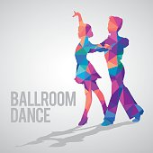 Multicolored detailed vector silhouette of young ballroom dancers