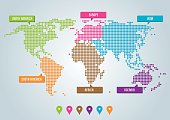 Multicolored Dot World Map and Continents