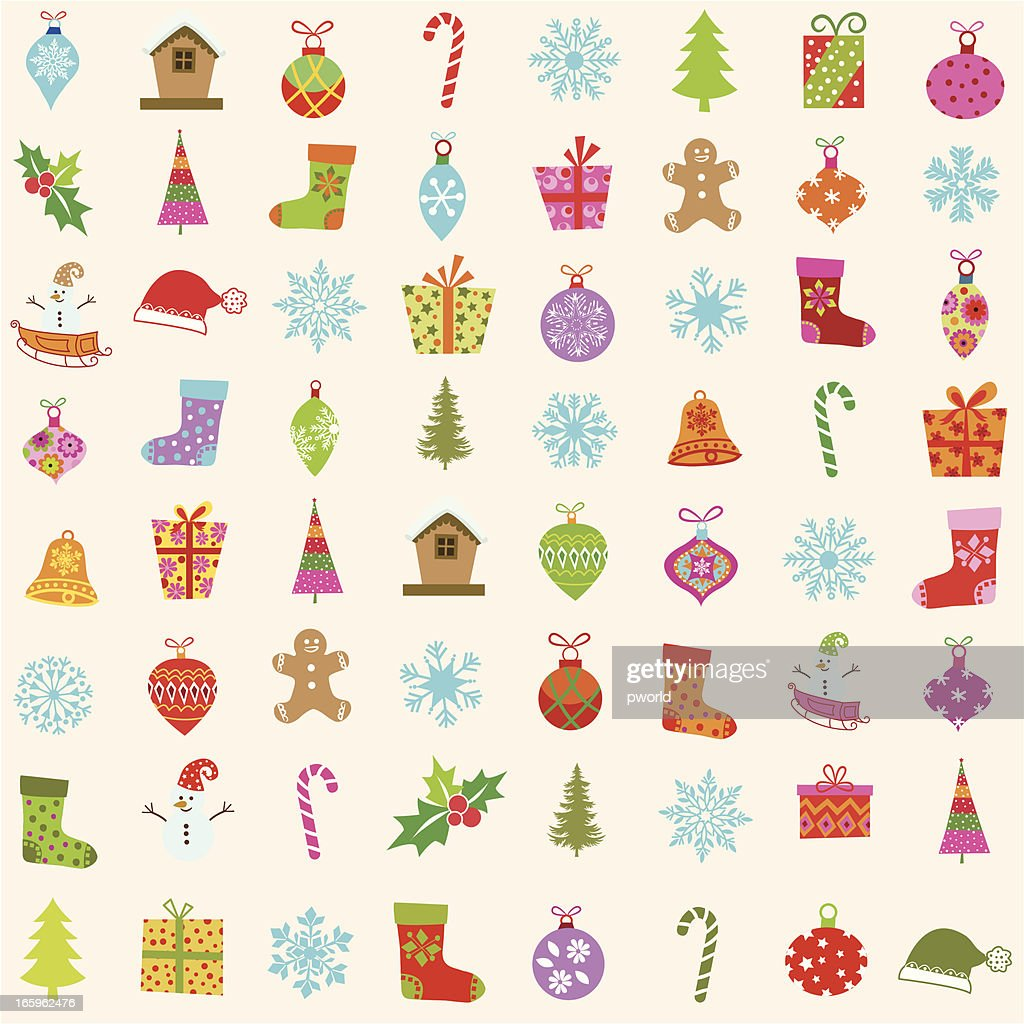 Christmas Items.Multicolored Drawings Of Christmas Items Stock Illustration