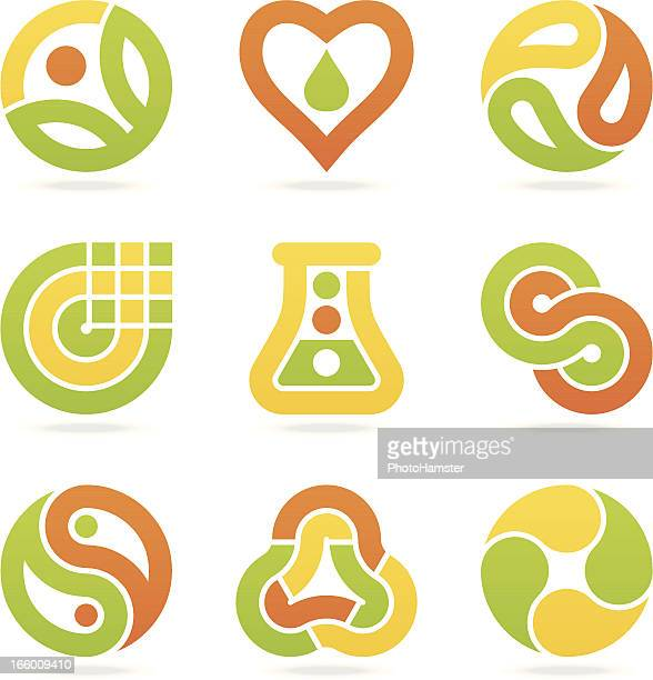 ilustrações, clipart, desenhos animados e ícones de eco símbolos multicolorida - produto local