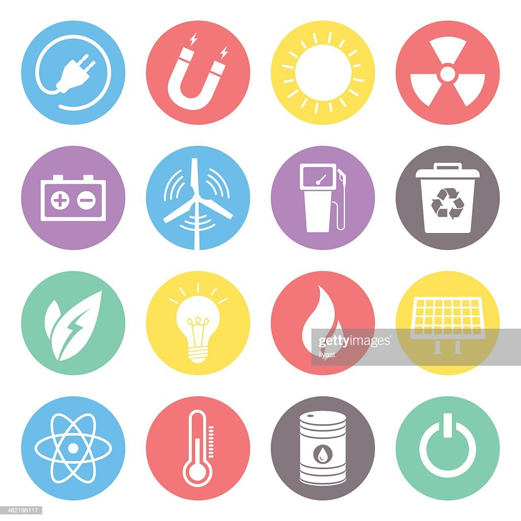 Multicolored energy icons on white background