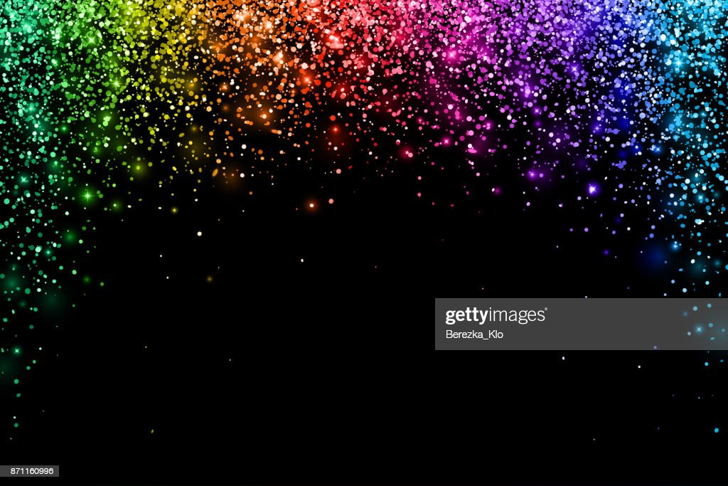 Multicolored falling particles on black background, arch shape. Vector