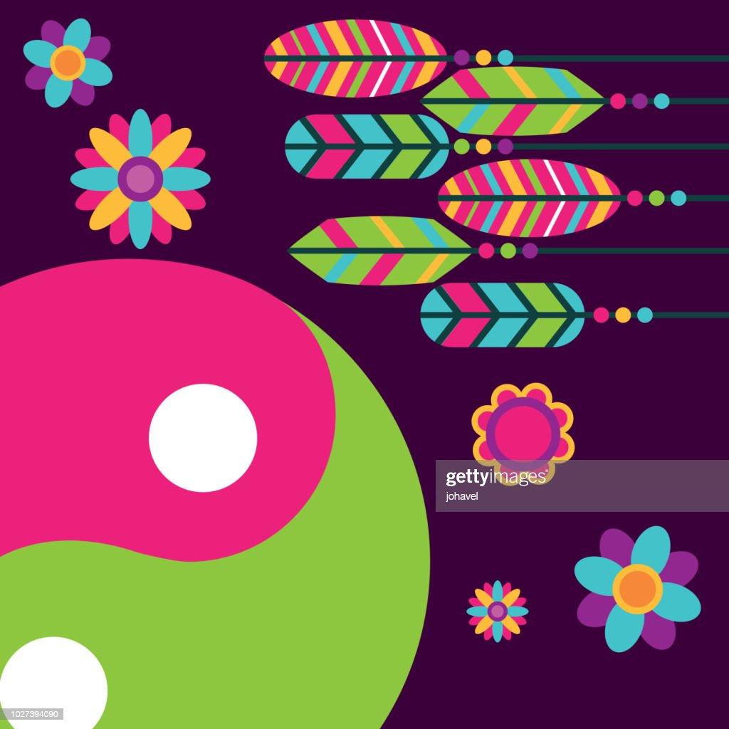 multicolored feathers flowers yin yang free spirit