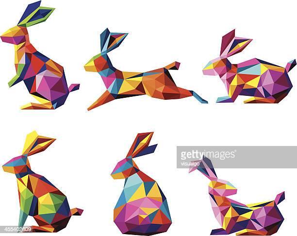 multicolored geometric rabbit icons - rabbit animal stock illustrations, clip art, cartoons, & icons
