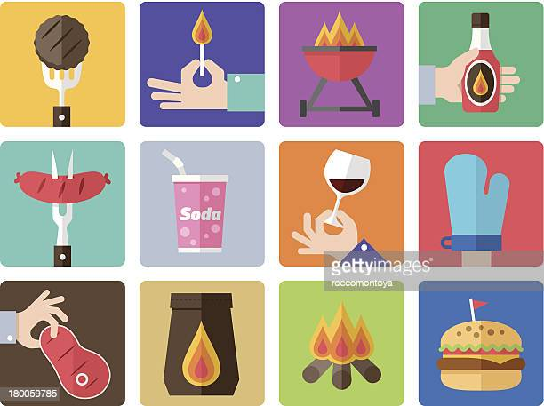 multicolored grid with colored barbecue icons - sirloin steak stock illustrations, clip art, cartoons, & icons