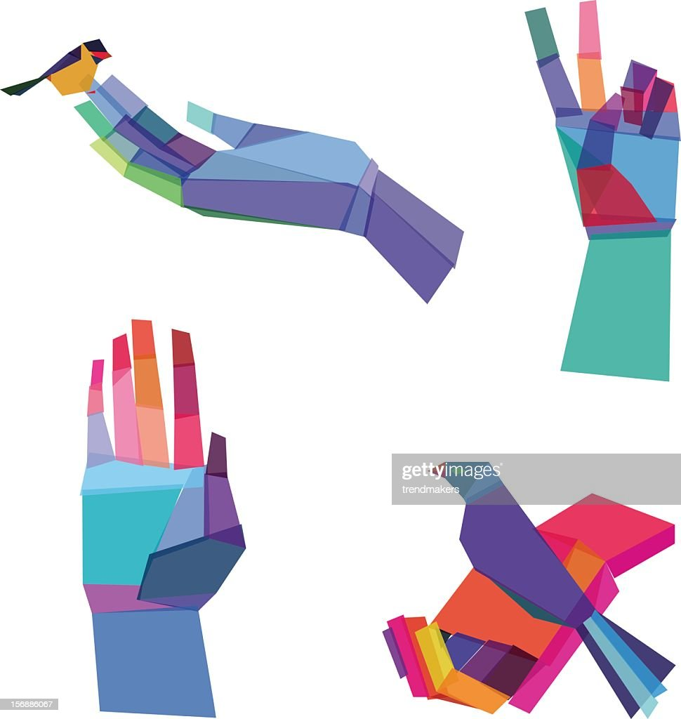 Multicolored hands designs consisting of polygonal shapes