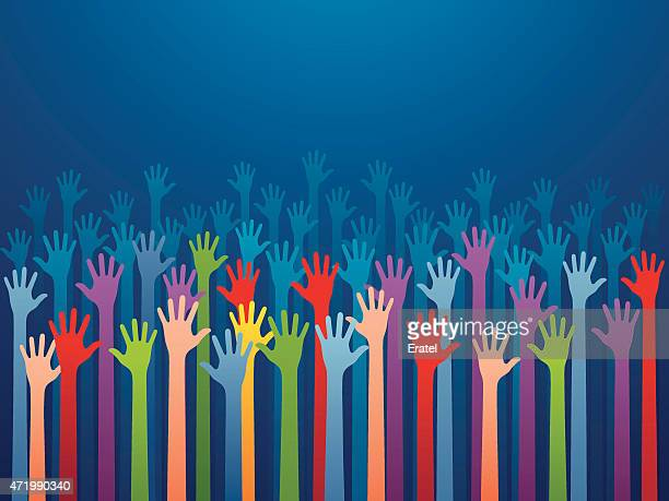 Multicolored hands reaching up on blue background