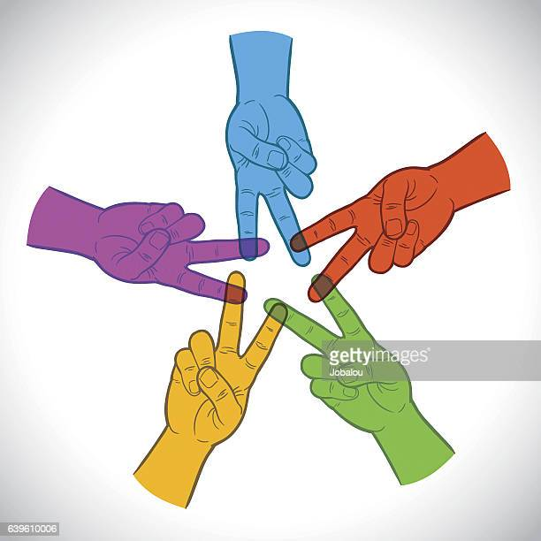 Multicolored Hands Team Symbol